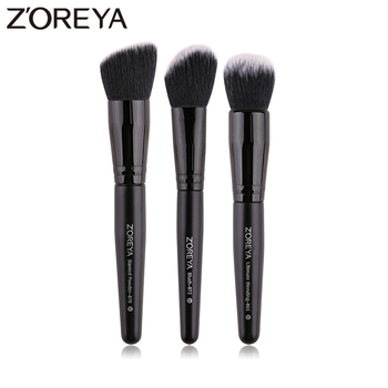 ZOREYA 3Pcs Class Black Makeup Brushes Super Soft Face Make Up Brush Set Blush Slanted Powder Ultimate Blending Beauty Tool