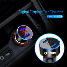 Aluminum Alloy Led Dual Usb Display Car Charger Display 12-24V Socket Fast Charger for Smart 450 451 Smart 453 Fortwo Forfour