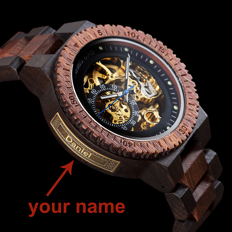 H1e1ac3510cc547ec9bc07835ee35262cT Personalized Customiz Watch Men BOBO BIRD Wood Automatic Watches Relogio Masculino OEM Anniversary Gifts for Him Free Engraving