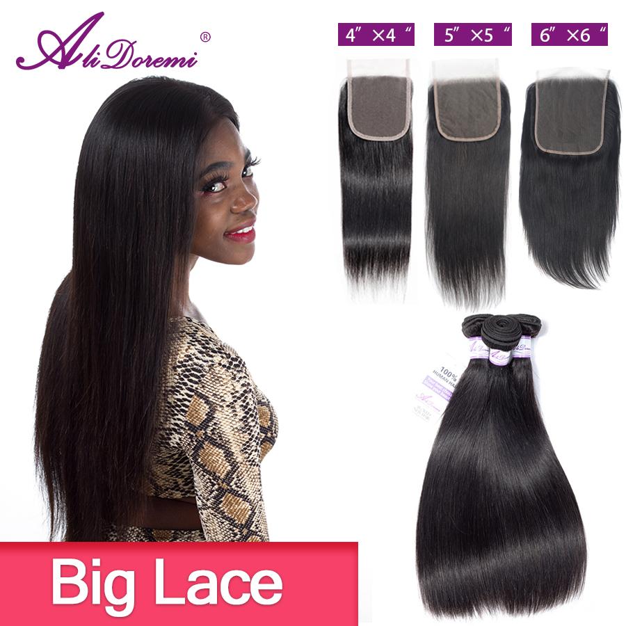 Alidoremi 5x5 Closure With Bundles Brazilian Straight Hair 3PCS Middle Free Part 100% Human Hair Non-Remy 4x4  6x6 30inch 32inch