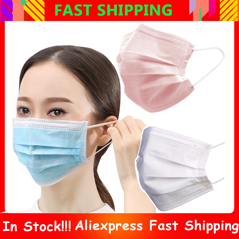 50-200pcs Face Mask 3-layer Non-woven Disposable Mask Anti PM2.5 Particle Masks Anti-fog Breathable Face Respirator Mouth Mask
