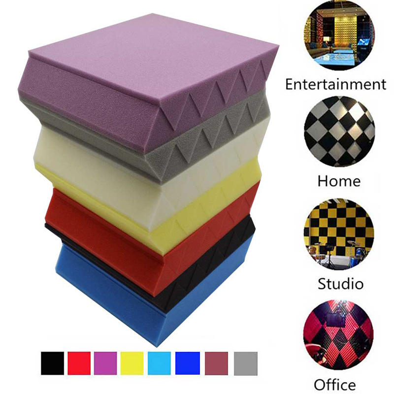 BEIYIN[12/Pack] Fireproof Wedge Acoustic Foam Studio Soundproof Panels Sound Absorption Tiles for Home Theatre Music Room 25X5cm