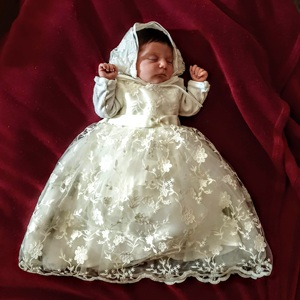 Image 5 - HAPPYPLUS Maxi Vintage Christening Dress for Baby Girl Lace Baby Half Birthday Girl 2 Years Baptismal Set Infant Dress Gowns