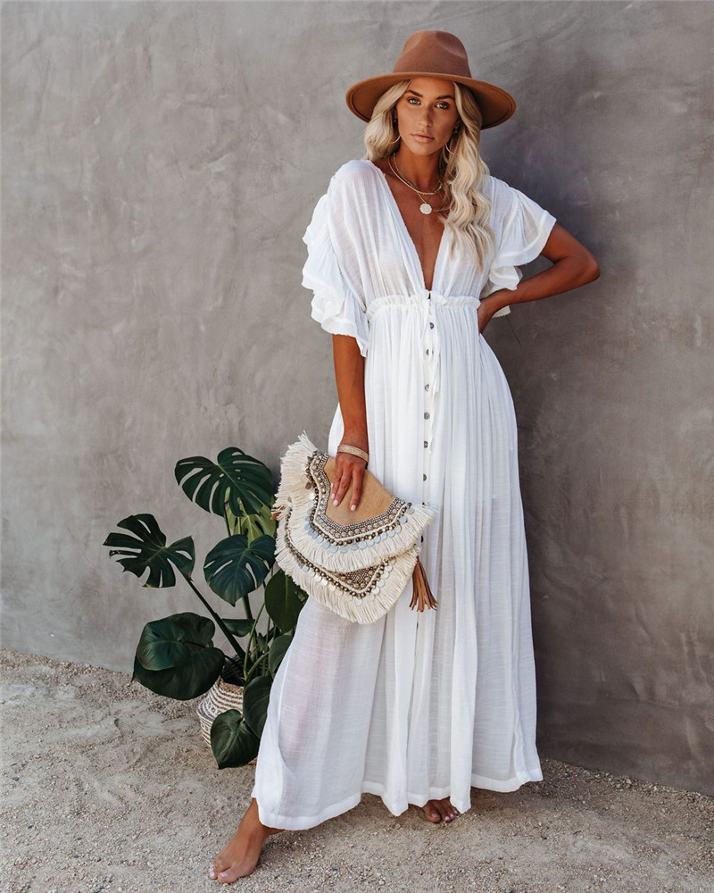 Beach Cover Up Dress Crochet White Knitted JKP4310