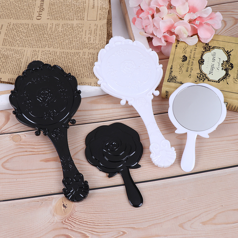 1 шт., круглое косметическое ручное зеркало, ручное зеркало для макияжа, цветочное овальное зеркало с ручкой для женщин, черный/белый Зеркала для макияжа      АлиЭкспресс