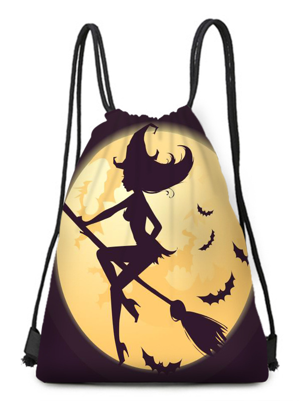 Broom Witch Style Storage Bag Tied Polyester Drawstring Bag Portable Small Cloth Bag Travel