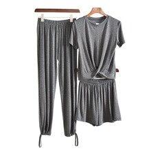Pants Suit Shorts Three-Piece-Set Straight-Leg-Pants Outer-Wear Wide-Leg Modal Capri