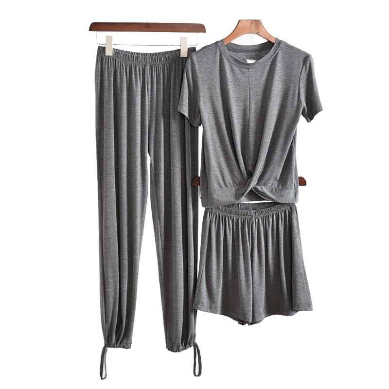 Tracksuits WOMEN pants Suit Outer Wear Thin Modal Short Sleeve T-shirt+Capri Straight-leg Pants+Wide-Leg Shorts Three-piece Set