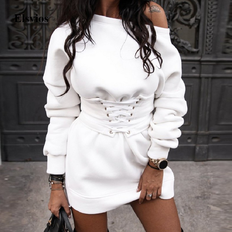 Winter Warm O Neck Sweatshirt <font><b>Dress</b></font> Women Casual Autumn Long Sleeve Mini <font><b>Dress</b></font> <font><b>Sexy</b></font> Off Shoulder Lace-Up <font><b>Bandage</b></font> <font><b>Party</b></font> <font><b>Dress</b></font> XL image