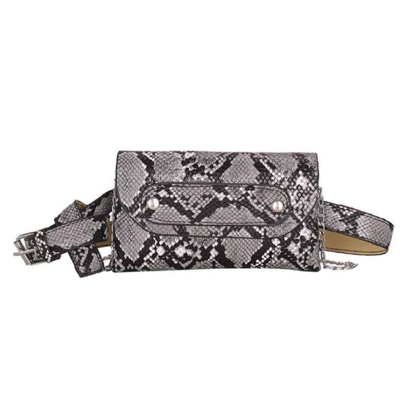 Fashion Snakeskin Pattern Waist Fanny Pack WoMan PU Leather Belt Chain Shoulder Bag Chest Tote Purse