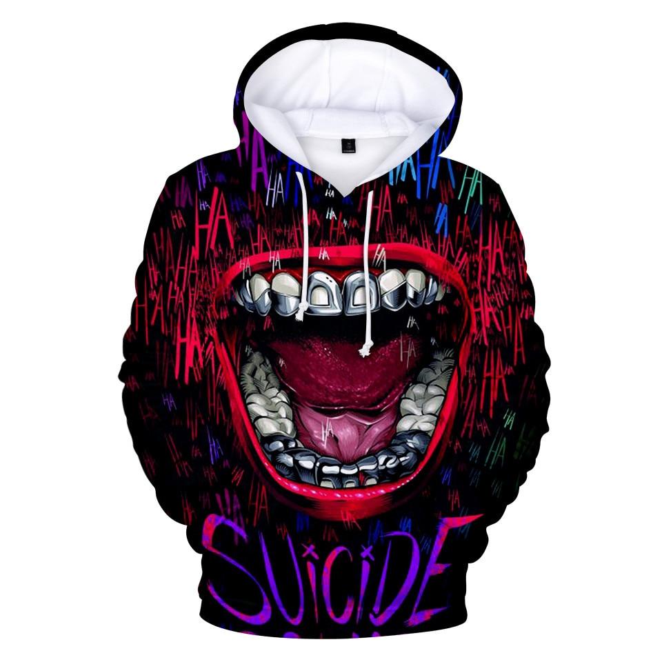 HAHA Joker Fashion 3D Hoodies Halloween Crazy Pullover Haha Joker Print Trend Sweatshirts Casual Streetwear