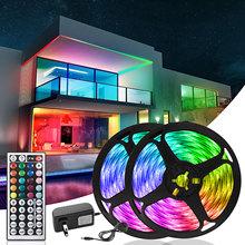 Oświetlenie LED SMD5050 LED diody na wstążce dekoracja na ścianę lampka nocna do sypialni oświetlenie kuchenne z 44 klawiszami podświetlenie kontrolera podczerwieni tanie tanio Leclstar CN (pochodzenie) 50000 LED Strip 5050 12 v PRZEŁĄCZNIK RGB ( Has White Light) 5M 10M 15M 20M Night light Kitchen lamp