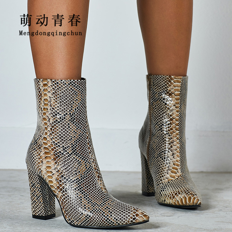 35 42 Big Size Women Boots High Heels Thick Heel Pointed Toe Snake Print Leather Boots Fashion Sexy Winter Party Ankle Botas