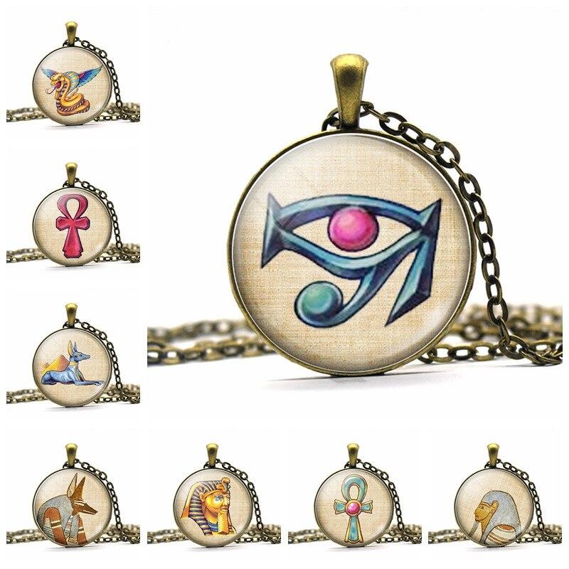Ancient Egyptian Ankh Cross Anubis God Copper Pendant Necklace Handmade Glass Cabochon Art