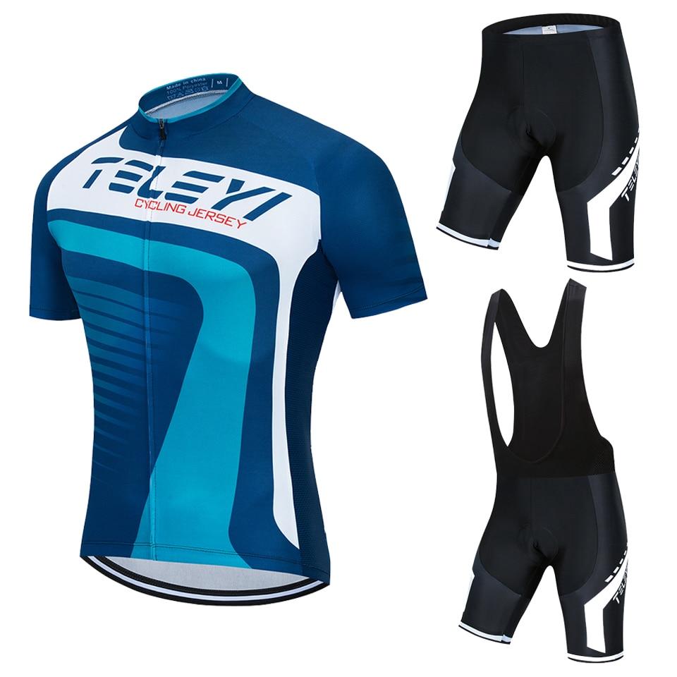 2020 Summer Mens Cycling Jersey Short Sleeve Shirts Bib Shorts Set Bike Uniform