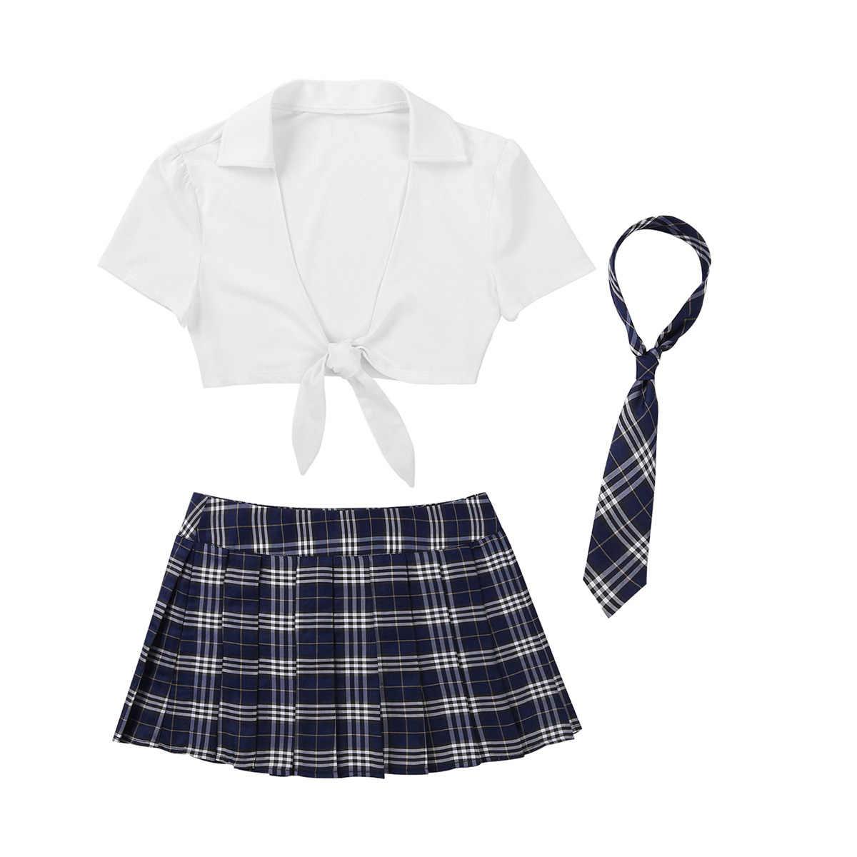 Conjunto de ropa interior para mujer, uniforme escolar, fantasía Sexy, ropa de Club elegante, conjunto de lencería para chica con Mini falda escocesa plisada