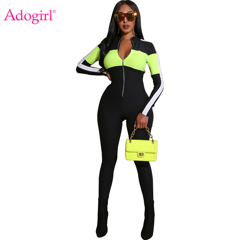 Adogirl Color Patchwork Fashion Casual Jumpsuit Athleisure Women Tracksuit Front Zipper Long Sleeve Skinny Romper Sportswear