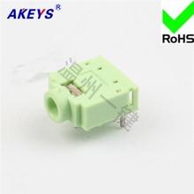 10 pcs PJ-307C green 3.5 earphone socket 5-foot backfoot function 3.5MM mother power outlet