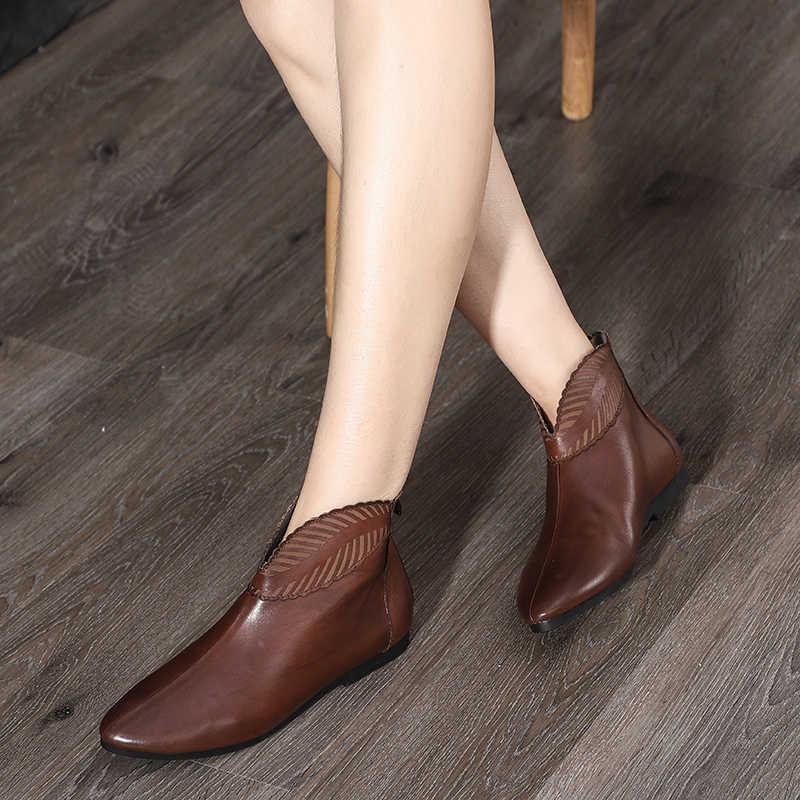 Orijinal 2019 sonbahar yeni düz dipli çizmeler kadın deri ayakkabı sivri burun basit katı yarım çizmeler