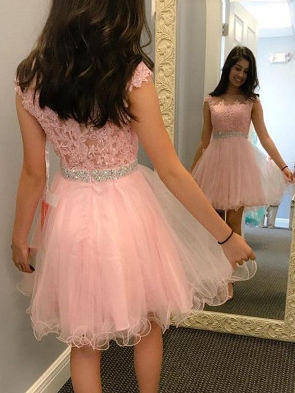 2020   Cocktail     Dress   A-Line/Princess Sleeveless Bateau Tulle Beading Applique Short/Mini   Dresses   for Party