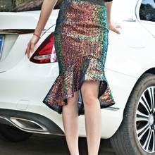 Женская юбка годе с блестками в уличном стиле привлекательная