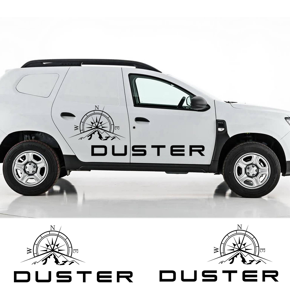 Autocollant pour corps de voiture, 2 pièces en vinyle, pour Dacia Renault, autocollant pour corps de boussole, montagne, décoration sur le côté de la porte de voiture, décalque de style