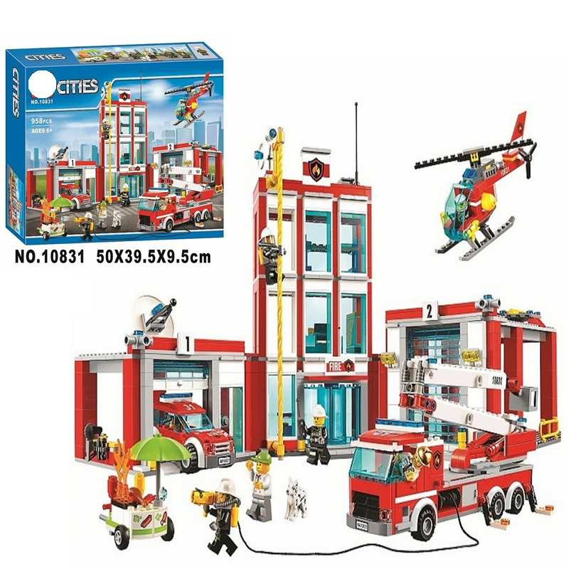 958pcs City Series 60110 The Fire Station Model Building Block Brick Toy For Children birthday Gift 10831