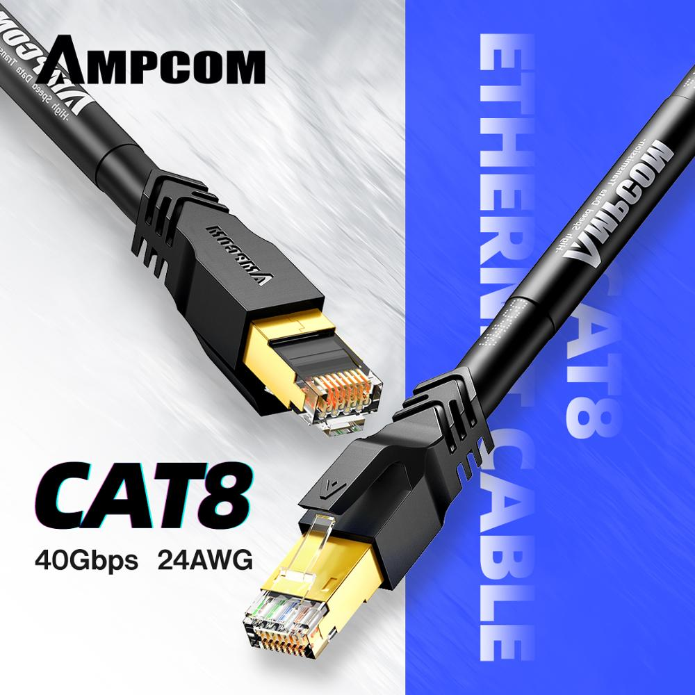 AMPCOM S/FTP CAT8 Ethernet Cable (24AWG, 8.0mm),  High Speed Patch Cable CAT 8 Lan Cable 10Gbps, 25Gbps, 40Gbps