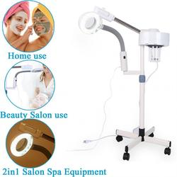 2-In-1 5X Magnifying Facial Steamer LED Cold Photon Rejuvenation Lamp Hot Ozone Sprayer Beauty Machine for Salon Spa US Plug