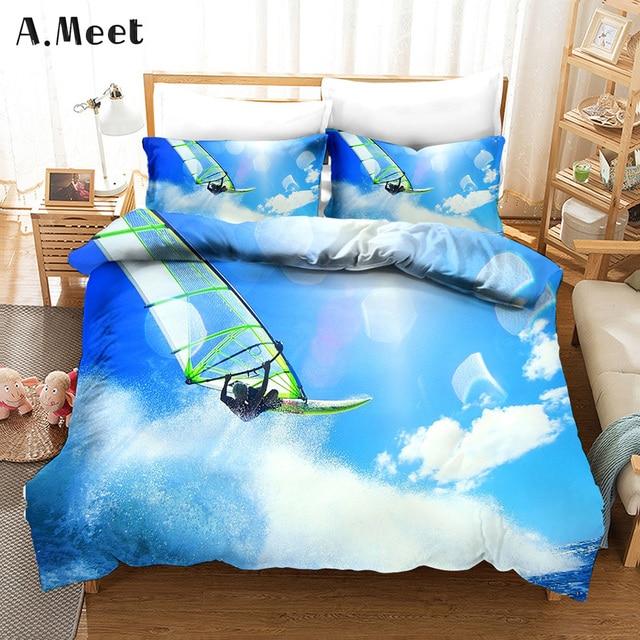 Surfer Linen Bedding Sets Brand 3d Printed Queen King Bed Set Bed Linen Bedsets Copripiumino Matrimoniale Summer Home Textile Bedding Sets Aliexpress