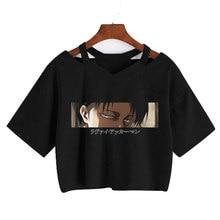 Camisa de manga curta gótico harajuku manga curta topos de colheita punk solto com decote em v