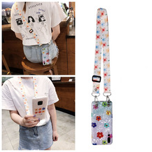 ins flower strap tpu case for xiaomi redmi note 7 mi 8 9 se lite A1 A2 6 Play cover glitter foil shoulder lanyard soft sili