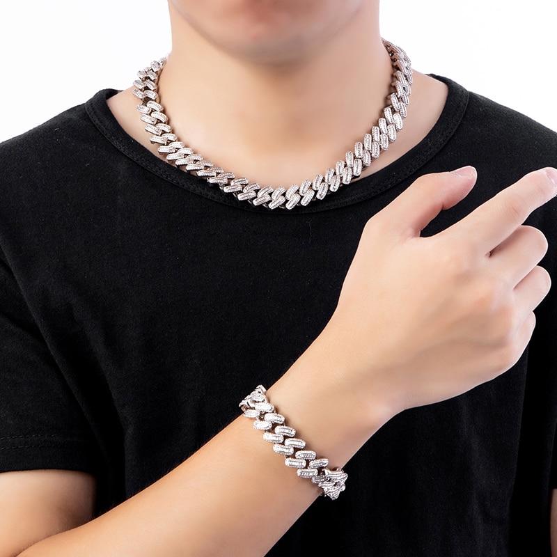 15MM Bling glacé AAA CZ carré Zircon cubain lien chaîne collier pour hommes cuivre colliers pour hommes Hip Hop bijoux - 4