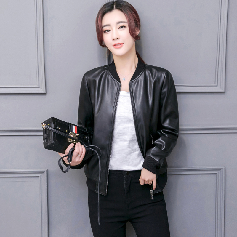 Newest Womesn Spring Autumn Motorcycle Faux Pu   Leather   Jackets Black Bomber Coats Shorts Section Ladies   Leather   Jacket D501