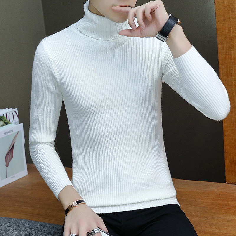 2019 New Autumn Winter Men'S Sweater Men'S Turtleneck Solid Color Casual Sweater Men's Slim Fit Brand Knitted Pullovers 3XL