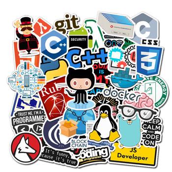 50 sztuk Internet nowe programowanie naklejki paczka Geek Php Docker Html Laptop lodówka telefon deskorolka walizka podróżna DIY Waterp tanie i dobre opinie Disney CN (pochodzenie) 3-8CM waterproof 1001
