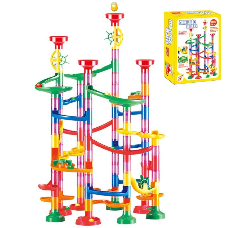 80/105pcs Set Kids DIY Construction Marble Race Run Track Building Blocks Kids Maze Ball Roll Toys Christmas Birthday Gift