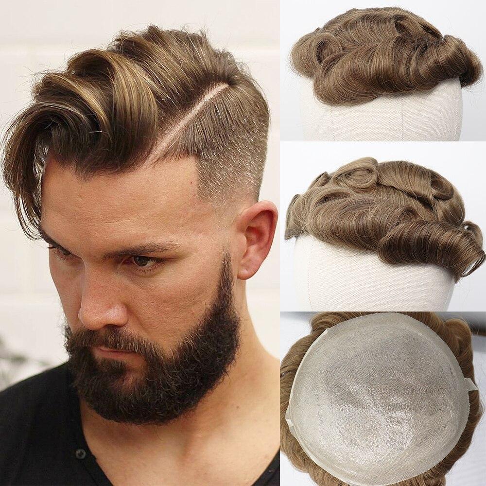 YY парики 8x10 из тонкой искусственная (-ый) искусственной парик из человеческих волос для Для мужчин бразильский Волосы remy заменить Для