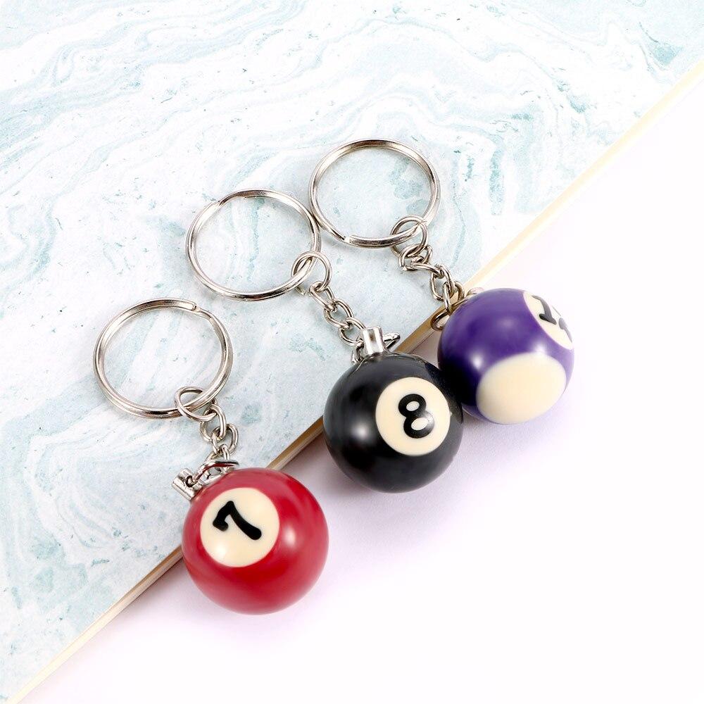 1pc Billiard Ball Keychain Mini Table Ball Key Ring Gift Lucky Number Ball Keychain 25mm Ball Key Holder Pendant
