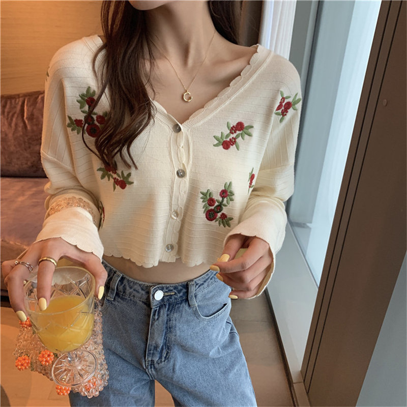 Alien Kitty Loose V-neck Flower Embroidery Apricot Gentle 2020 Chic Short Lace Knitting High Waist Thin Cardigans Women Sweaters