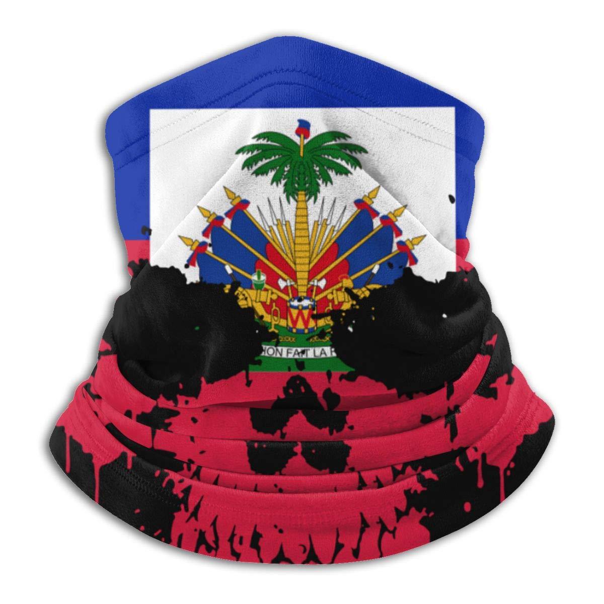 Haitian Haiti Skull Flag Neck Warmer Gaiter Balaclava Ski Mask Cold Weather Face Mask Winter Hats Headwear For Men Women Black