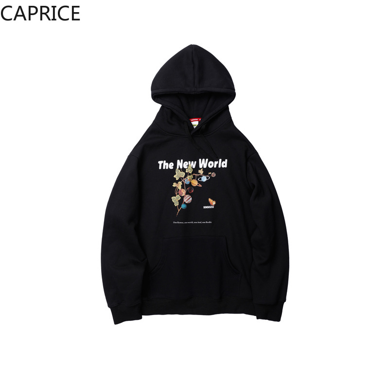 Creative Planet Leaf Print Hoodies Sweatshirts Streetwear Men Harajuku Hip Hop Casual Fleece Pullover Hooded Hoodie