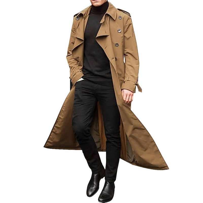 JODIMITTY 2020 גשם ארוך מעיל גברים מוצק קלאסי חורף מעיל גברים מזדמן רופף בסגנון בריטי תעלת מעיל Streetwear מעיל