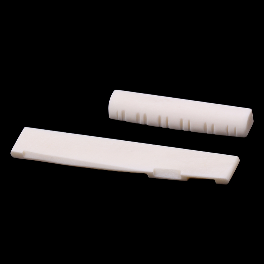 1 Set Bone Slotted Bridge Saddle <font><b>Nut</b></font> Material for <font><b>12</b></font> Strings Acoustic Guitar Replacement Parts image