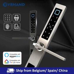 Cerradura biométrica europea para puerta con huella digital, cerradura electrónica inteligente para puerta con código de tarjeta RFID para puerta de vidrio de aluminio
