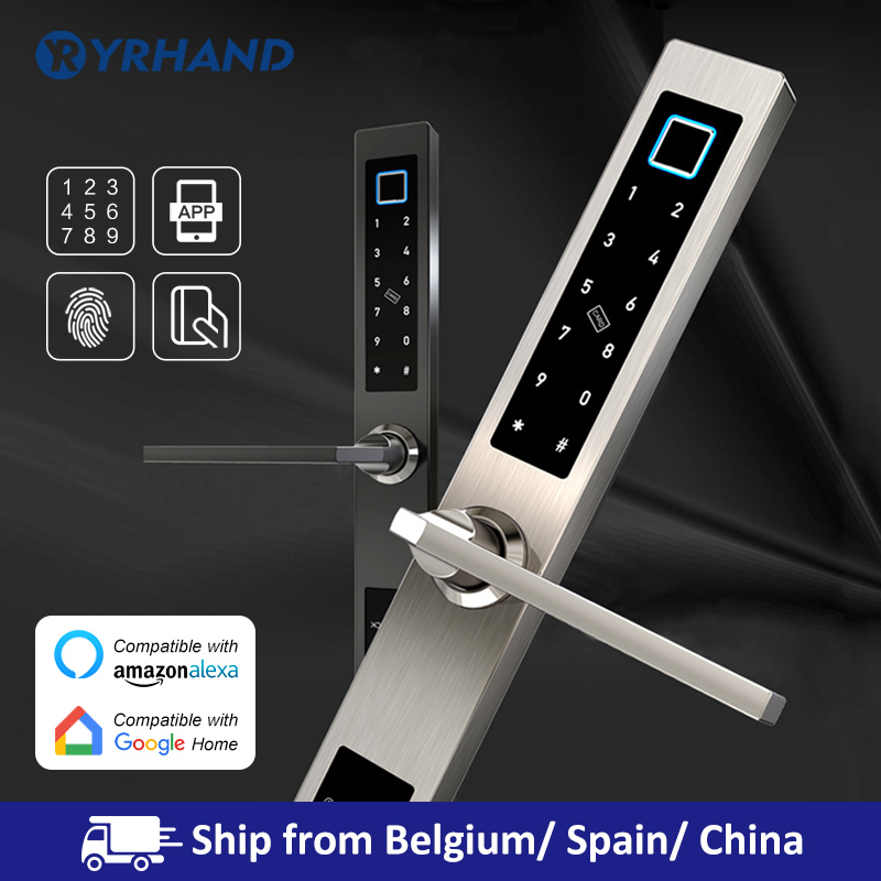 European waterproof biometric fingerprint door Locks electronic Smart door lock RFID Card code lock For Aluminum Glass Door