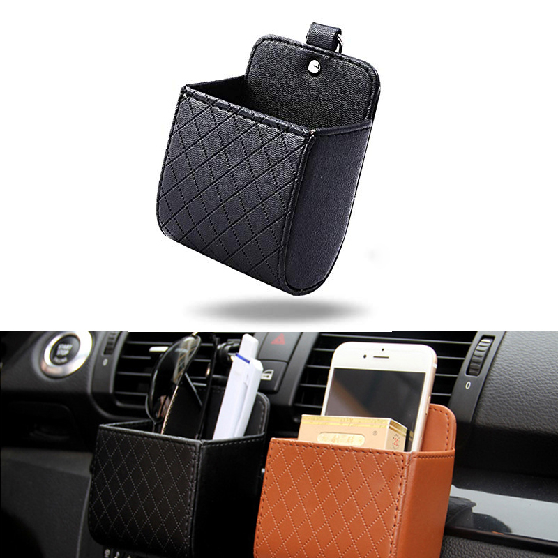 Universal Car Air Vent Organizer Box Storage Bag With Hook Auto Mount Outlet Hanging Leather Container Pocket Coin Phone Holder