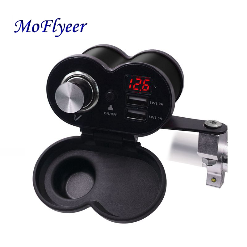 MoFlyeer Motorcycle USB Charger Phone 12V/24V Cigar Lighter Socket Dual USB QC 3.0 Moto Charger LED Voltmeter Waterproof 5.0