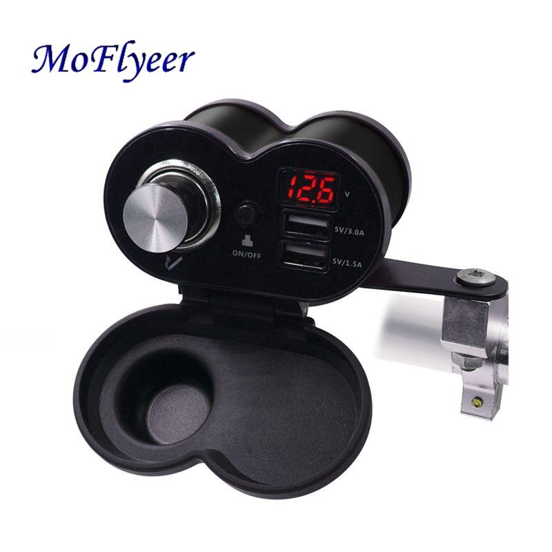 Moflyeer carregador usb para moto duplo, usb 5.0, à prova d água, entrada dupla, para celular 12v/24v voltímetro led para carregador de moto 3.0