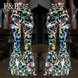 Women Rainbow Reflective Mushroom Flare Bell Bottom Pants Leggings Rave Festival Clothes Outfits High Waisted Pants Leggings